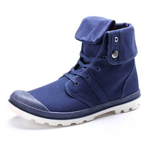 New Fashion Men Casual High Top Canvas Shoes Outdoor Lace-up Sport Sneakers Shoes