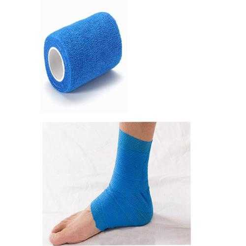 4Pcs Blue Ourdoor Sports Self-adhesive Elastic Gauze Tape Care Bandage