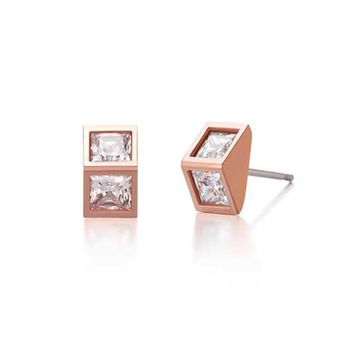 925 Silver Needle Triangle Zircon Crystal Ear Stud Earrings Women Jewelry