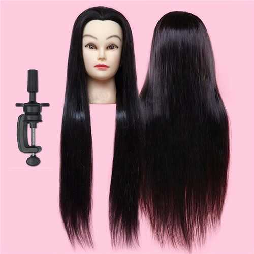 28'' 50% Real Long Straight Hair Practice Hairdressing Training Head with Clamp 71cm