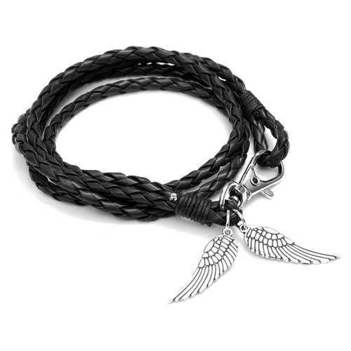Vintage Handmade Angel Wings Bangle Braided Leather Bracelet Unisex