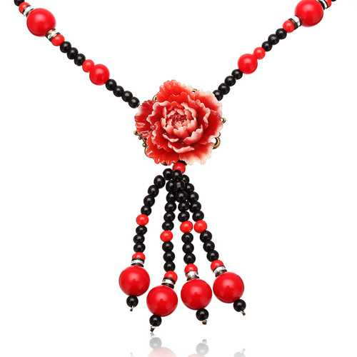 Ethnic Artificial Jade Flower Resin Paint Beads Necklace Jewelry