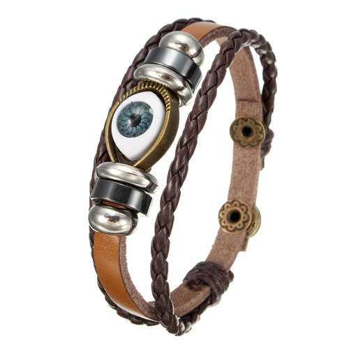 Men Women Genuine Leather Bracelet Jewelry Eye Leaf Wristband