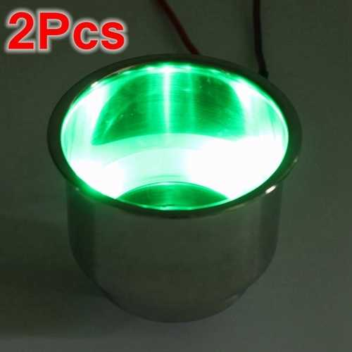 2PCS Green 8LEDs Stainless Steel Cup Drink Holder Marine Boat Car Truck Camper