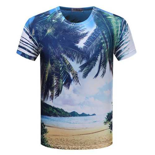Men 3D Digital Double Sided Scene Printing Short Sleeve T Shirts