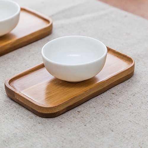 Rectangle Bamboo Scald Proof Tea Cup Holder Coaster Kungfu Tea Accessaries