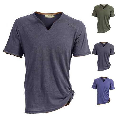 JOZSI Mens Light Thin Outdoor Cotton Tees Sport V-neck Tops Quick-dry Short Sleeve T-shirt
