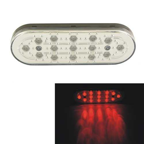 Car Auto 15 LED White Shell Brake Lamp Stop Parking Emergency Safety Warning Light Red Light