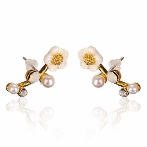 925 Silver Needle Shell Flower Crystal Rhinestone Ear Stud Earrings
