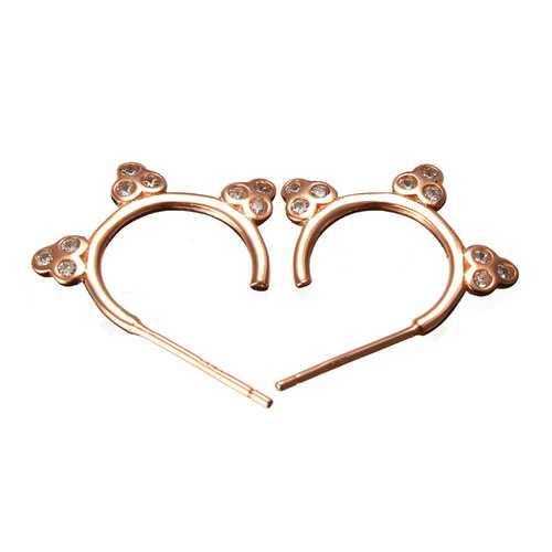 925 Silver Flower Zircon Crystal Hoop Earrings Women Jewelry