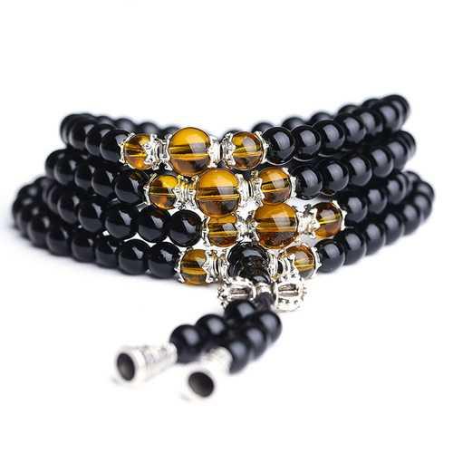 108Pcs Unisex 6mm Black Glaze Artificial Obsidian Buddhist Prayer Beads Bracelet Jewelry