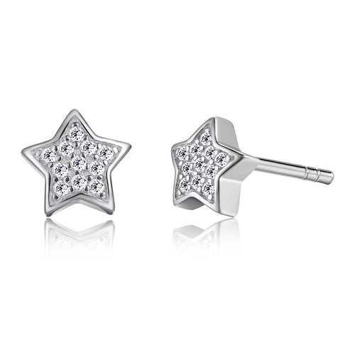 Cute 925 Silver Star Cubic Zircon Crystal Earrings Women Jewelry