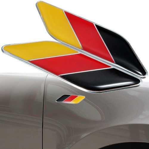 2pcs 3D German Flag Sticker Badge Emblems Decal Decor For Car Truck Bike Laptop