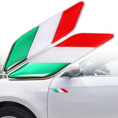2pcs 3D Itllian Italy Flag Sticker Badge Emblems Decal Decor For Car Truck Laptop