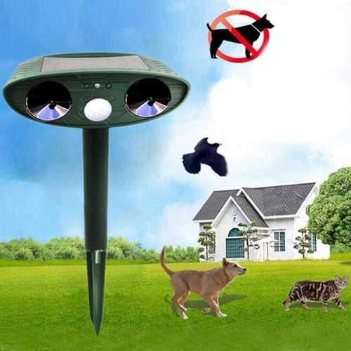 GreatHouse Ultrasonic Solar Power Animal Dispeller Outdoor Garden Animal Scarer Cat Dog Repeller