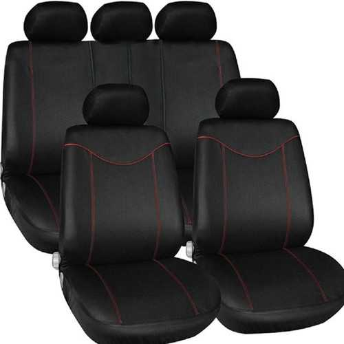 TIROL Car Seat Covers Universal fit SUV Sedans Black Mesh Read Line