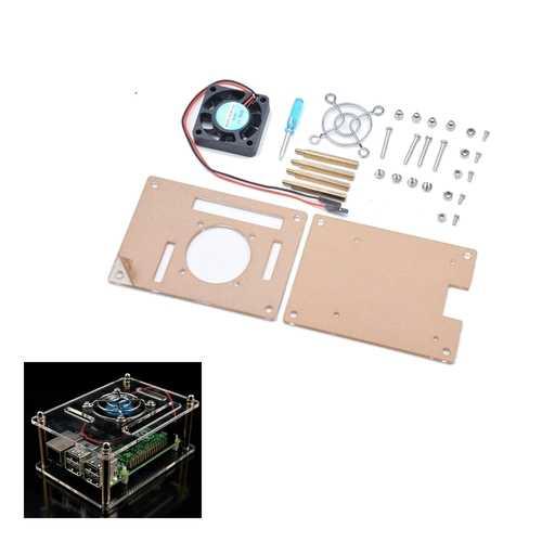 Geekcreit® Transparent Acrylic Case + Cooling System External Fan + Screwdriver Tool For Raspberry Pi 3/2/B/B+