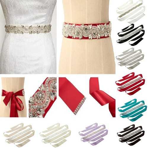 Bride Rhinestone Bead Ribbon Elegant Party Dress Sash Belt Wedding Cocktail Dress Accessories