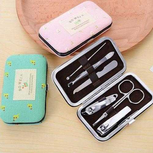 6Pcs Stainless Steal Nail Manicure Pedicure Clipper Tools Set Box