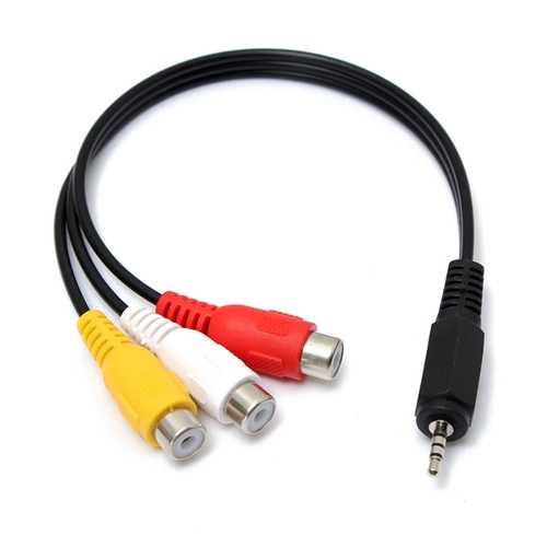 2.5mm 20cm Male to 3 RCA Female Jack Splitter Audio Video AV Adaptor Cable Extension Lead