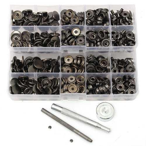 100pcs 15mm Black Snap Fasteners Popper Press Stud Button Leather Tool Kit