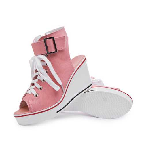 Big Size Canvas High Top Buckle Peep Toe Wedge Heel Casual Shoes