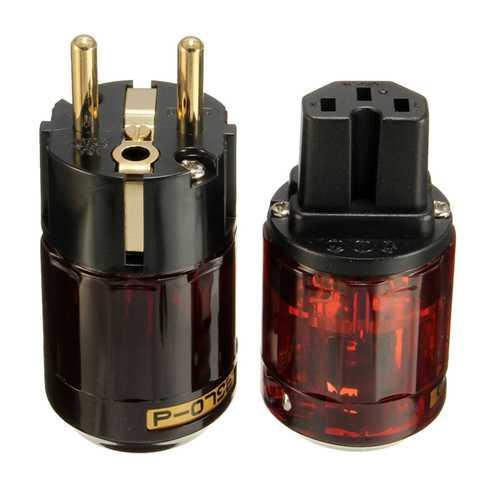 1 Pair IEC Audio Connector C-079 P-079e Schuko Europe EU Power Plug Gold Plated
