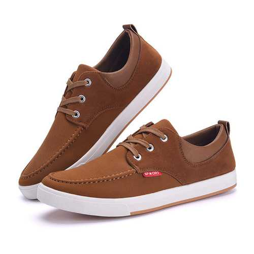 Men's Canvas Sneakers Breathable Soft Sole Lace up Casual Shoes