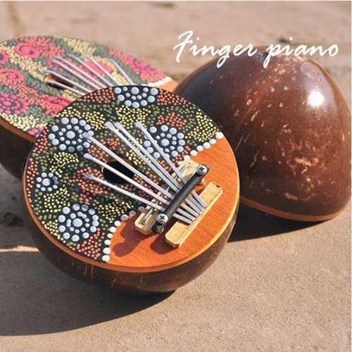 Kalimba 7 Key Finger Piano Painted Coconut Shell Mbira Likembe Thumb Piano