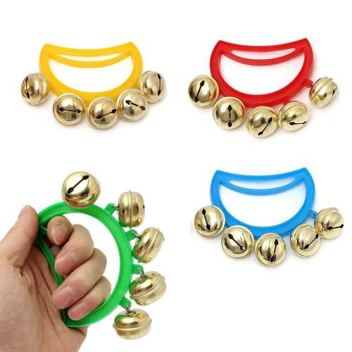 Colorful Hand Bell Jingles Percussion Musical Instrument Kids Christmas Toy