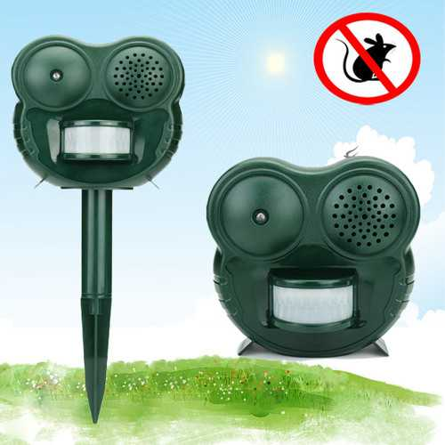 GreatHouse Owl Shaped Electric PIR Sensor Mouse Repeller Outdoor Garden Sonic Animal Repellent