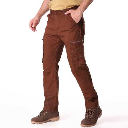 Casual Solid Color Fashion Multi Pockets Long Trousers