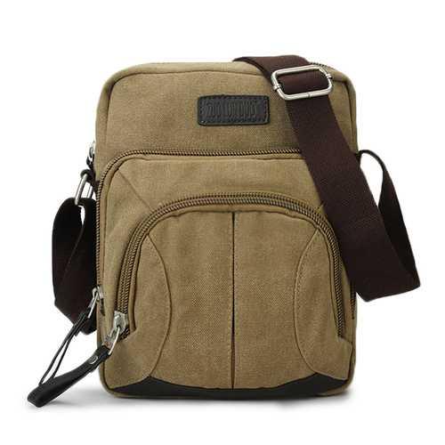 Men Canvas Leisure Retro Crossbody Bag Capacity Travel Shoulder Bag