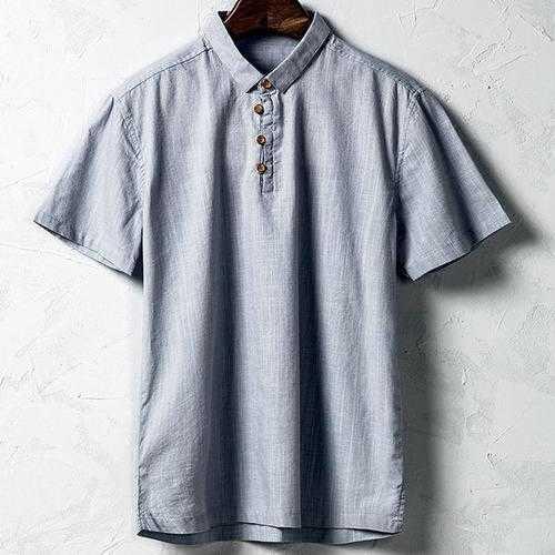 Men Cotton Linen National Style Retro Solid Color Casual T-shirt