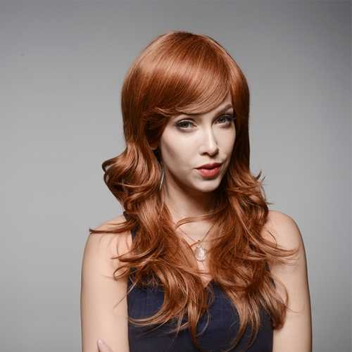 Brown Long Wave Capless Virgin Human Hair Curly Wig Side Bang Remy Mono Top 60cm 8 Colors