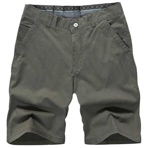 5 Color Men Summer Casual Zipper Knee Length Cotton Blended Beach Shorts