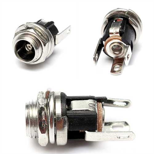 10Pcs 5.5mm x 2.1mm DC Power Supply Metal Jack Socket With Nut And Washer