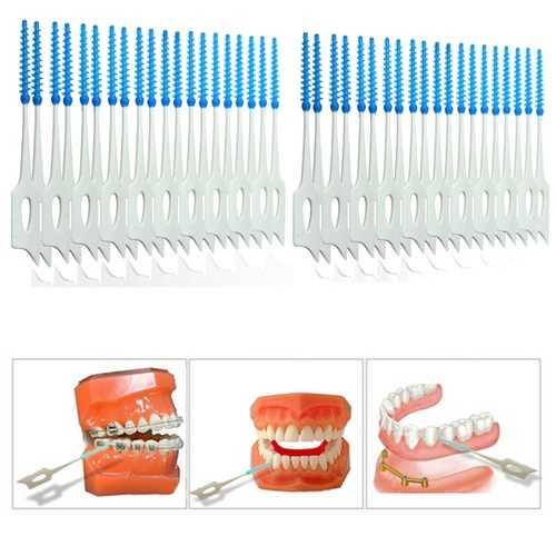 400pcs Interdental Between Teeth Floss Brush Elastic Massage Gum Toothpick
