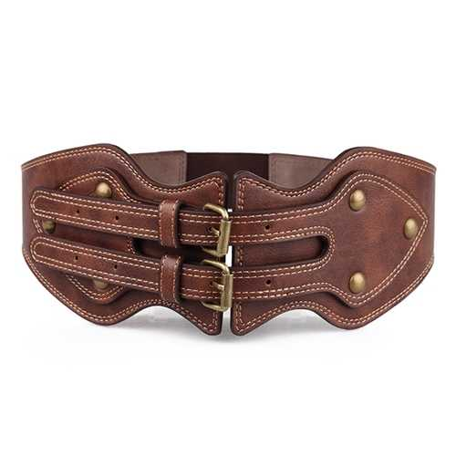 Women Lady  Crazy Horse PU Leather Needle Buckle Elastic Wide Belt Brown Color Wristband Strap