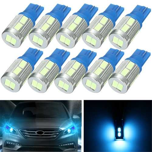 10Pcs Ice Blue 20Lm 2.3W 0.17A T10 5730 LED Side Indicator Lamp Light