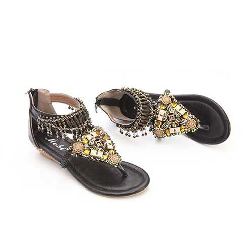 Bohemian Bead Chain Metal Pu Retro Clip Toe Zipper Flat Beach Outdoor Comfortable Ankle Sandals