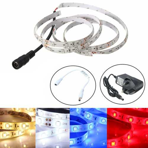 1M Waterproof SMD 3528 60 LED Flexible Strip Light + 12V UK Plug Power Supply + Dimmer