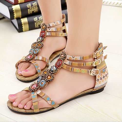 Bohemia Bead Crystal Zipper Peep Toe Beach Sandals