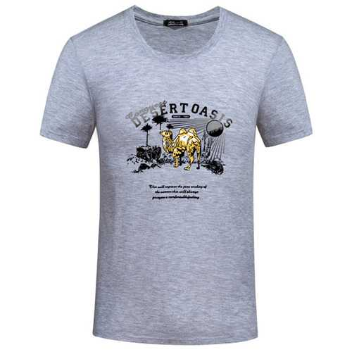 Big Size S-4XL Men Summer Camel Printing Casual Cotton T-shirt 8 Colors