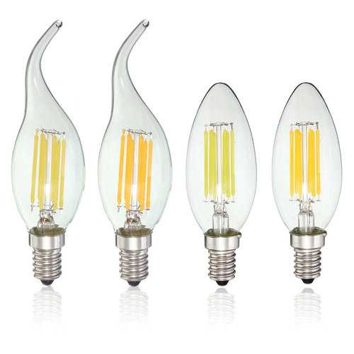 Dimmable E14 6W COB 600Lm Edison Filament Bulb LED Light Candle AC 110V
