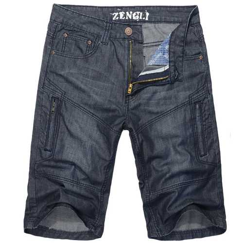 Plus Size Mens Summer Casual Denim Straight Leg Loose Knee-length Shorts Jeans