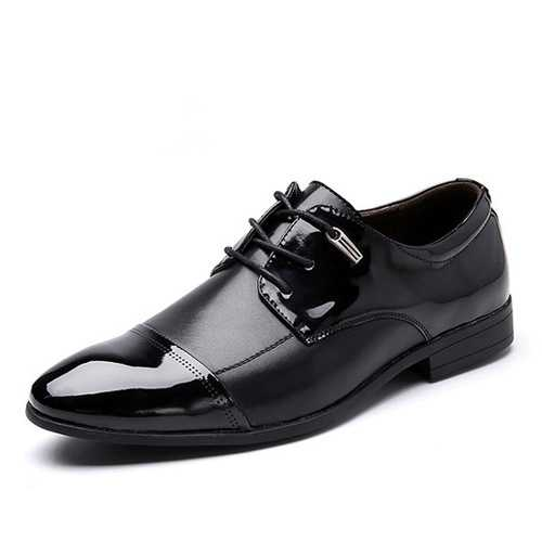 Big Size Lace Up Formal Shoes Soft Leather Business Pointed Toe Shoes