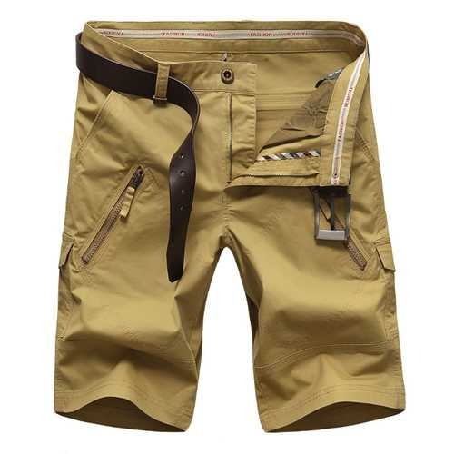 Plus Size 30-50 Zipper Pocket Cargo Shorts Mens Fashion Casual Straight Leg Shorts