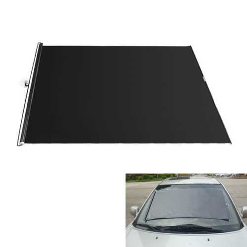 130cm Black Retractable PVC Sunshade Roller Car Curtain Window Shade Protection