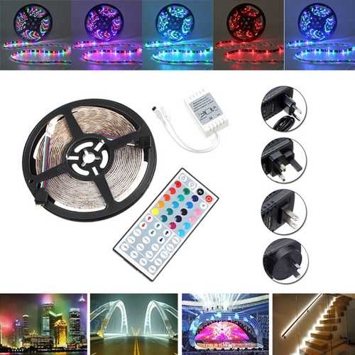 5M SMD 3528 RGB 300 LED Waterproof Strip Light For Xmas Holiday Decor Power Supply DC12V